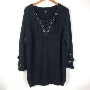 Nude Revolve Black Lace Up Sweater Dress